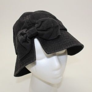 Vintage Black Bow with Slit Bucket Hat